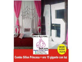 Alquiler Sillon Princesa y nro 15 Luz gigante