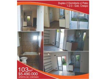 VENDO Duplex 2 dormitorio c/Patio 1-2-3 - Gob. Crespo