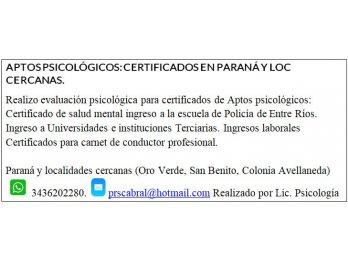 Aptos Psicológicos Certificados en Paraná y loc cercanas.