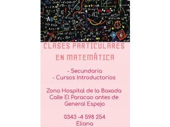 CLASES PARTICULARES EN MATEMÁTICA