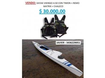 KAYAK VIKINGO 4.50 + REMO + 1 CHALECO