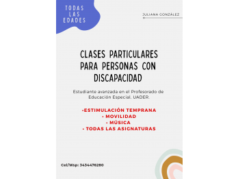 CLASES PARTICULARES PARA PERSONAS CON DISCAPACIDAD