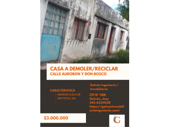 #VENTA CASA A DEMOLER/RECICLAR
