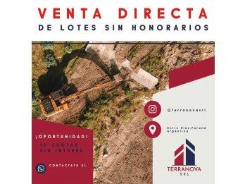 OPORTUNIDAD UNICA! VENTA DIRECTA DE TERRENOS! TERRANOVA SRL