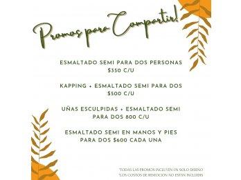 PROMOCIONES! ESMALTADO SEMIPERMANENTE, KAPPING, ESCULPIDAS